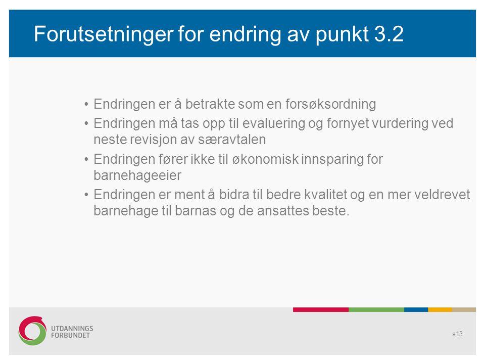 Forutsetninger for endring av punkt 3.2 •Endringen er å betrakte som en forsøksordning •Endringen må tas opp til evaluering og fornyet vurdering ved n