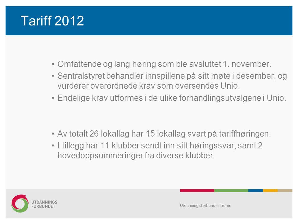 Tariff 2012 •Omfattende og lang høring som ble avsluttet 1. november. •Sentralstyret behandler innspillene på sitt møte i desember, og vurderer overor