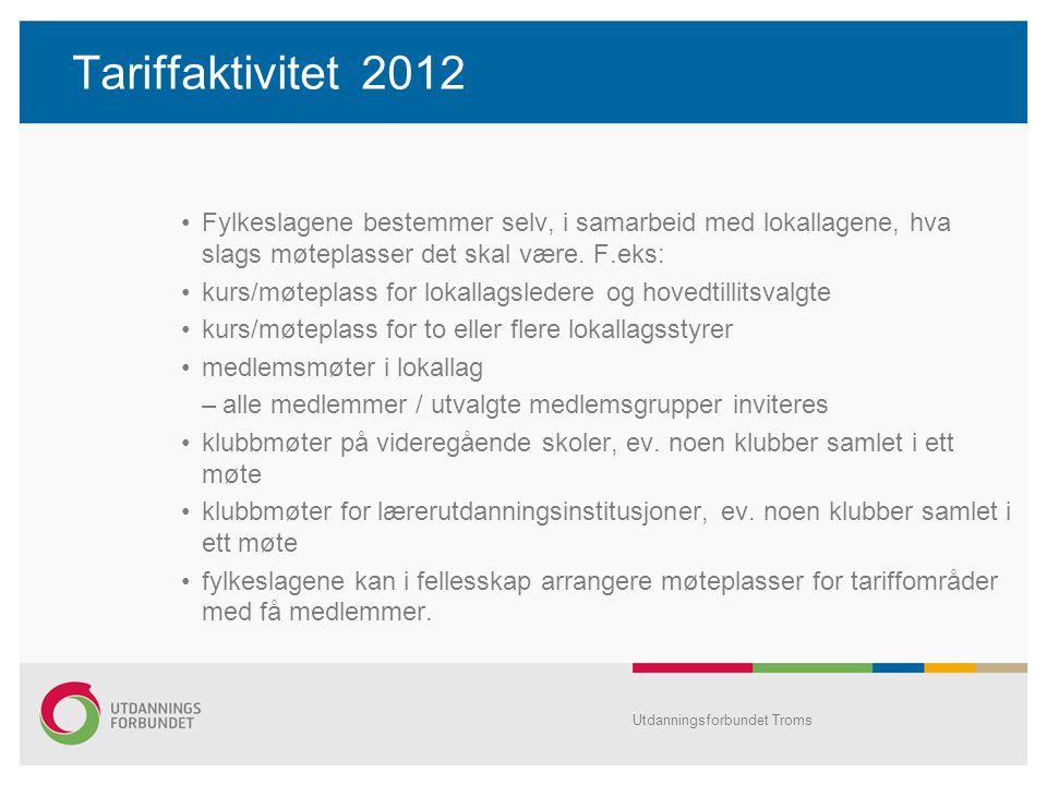 Tariffaktivitet 2012 •Fylkeslagene bestemmer selv, i samarbeid med lokallagene, hva slags møteplasser det skal være. F.eks: •kurs/møteplass for lokall
