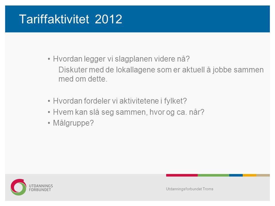 Tariffaktivitet 2012 •Hvordan legger vi slagplanen videre nå? Diskuter med de lokallagene som er aktuell å jobbe sammen med om dette. •Hvordan fordele