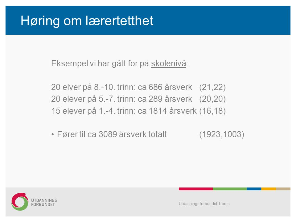 Høring om lærertetthet Eksempel vi har gått for på skolenivå: 20 elver på 8.-10. trinn: ca 686 årsverk(21,22) 20 elever på 5.-7. trinn: ca 289 årsverk