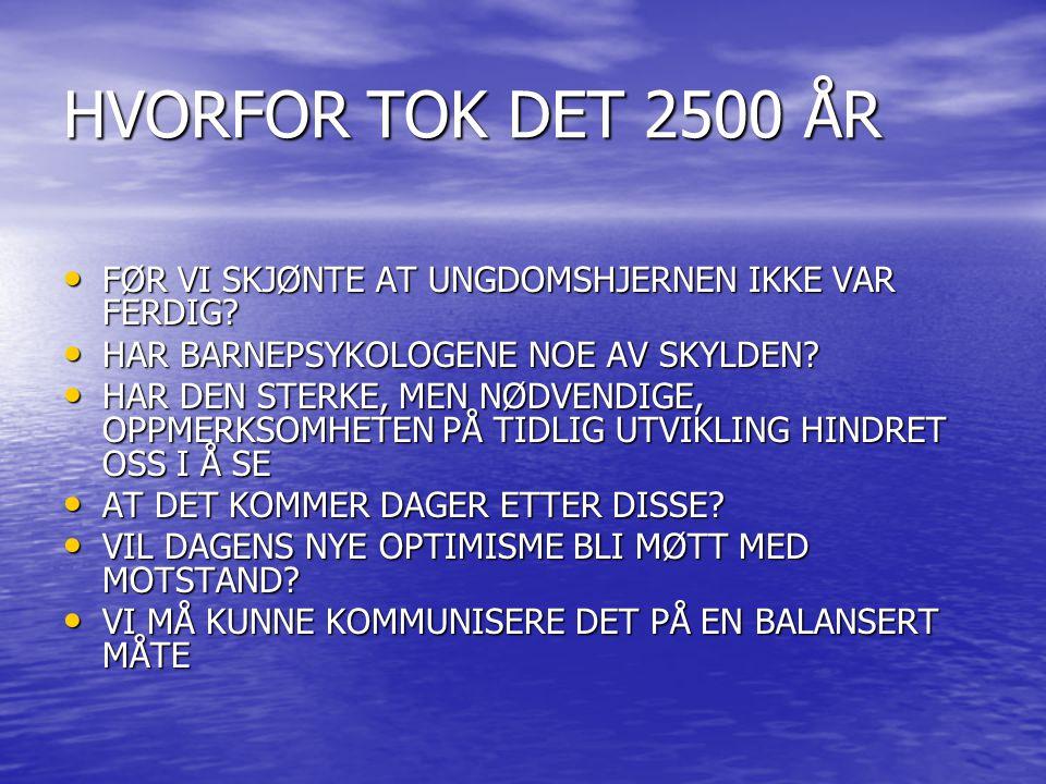 HVORFOR TOK DET 2500 ÅR • FØR VI SKJØNTE AT UNGDOMSHJERNEN IKKE VAR FERDIG.