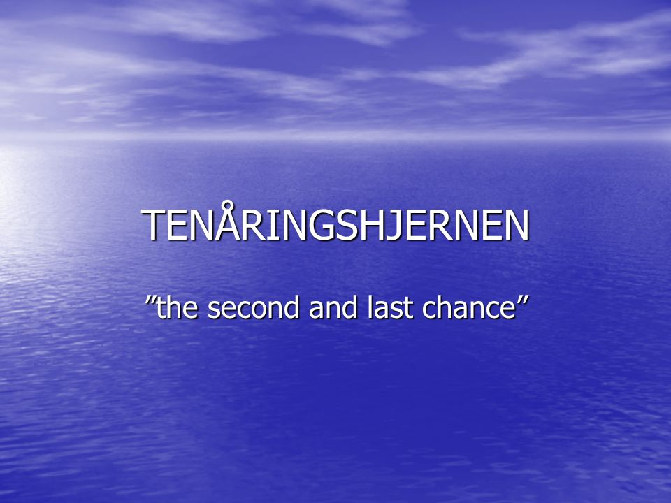 "TENÅRINGSHJERNEN ""the second and last chance"""