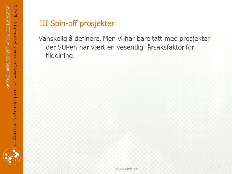 UNIVERSITETET FOR MILJØ- OG BIOVITENSKAP www.umb.no III Spin-off prosjekter Vanskelig å definere.