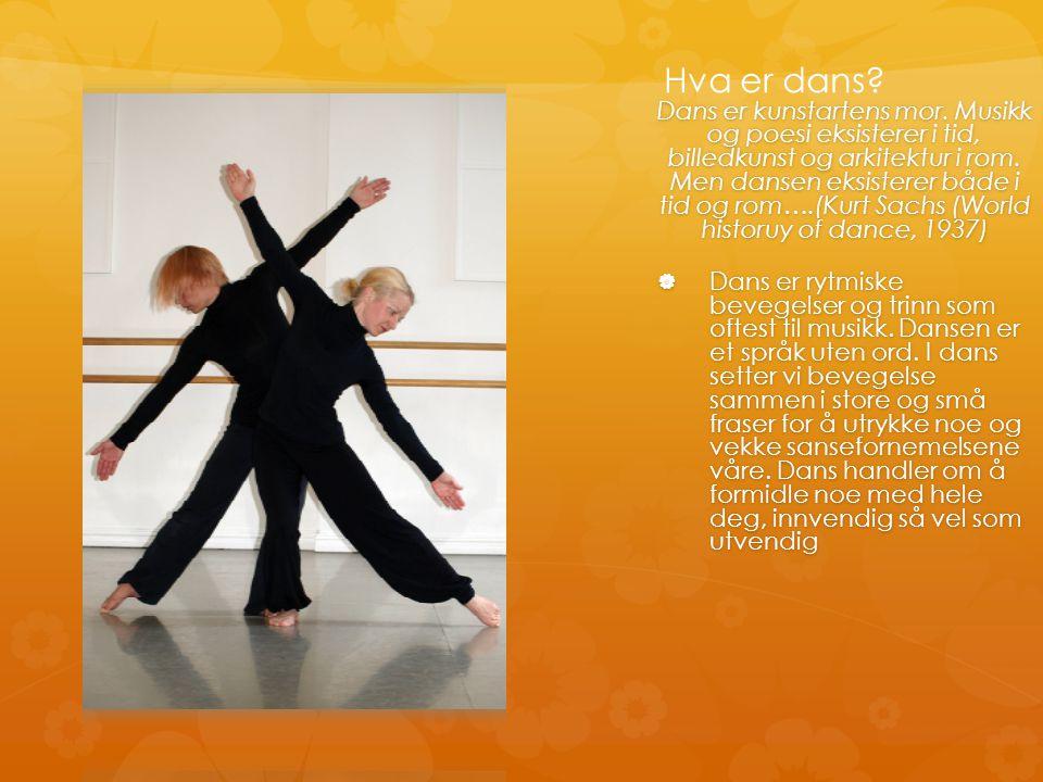 Hva er dans?. Dans er kunstartens mor. Musikk og poesi eksisterer i tid, billedkunst og arkitektur i rom. Men dansen eksisterer både i tid og rom….(Ku