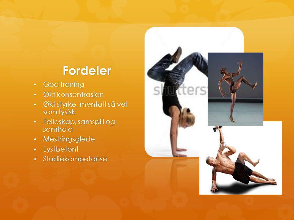 Fordeler • God trening • Økt konsentrasjon • Økt styrke, mentalt så vel som fysisk • Felleskap, samspill og samhold • Mestringsglede • Lystbetont • St