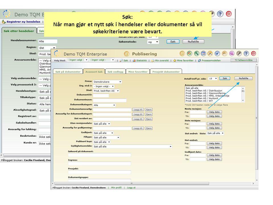 Ny godkjenner-funksjon i Publisering: -Det kan registreres Godkjenner på alle Ansvarsnivåer (ansvarsområde, underområde, prosessnivå 3) -Disse Godkjennere kan godkjenne dokumenter på sitt område og underliggende -Ansvarlig godkjenner er godkjenner på det laveste nivået.