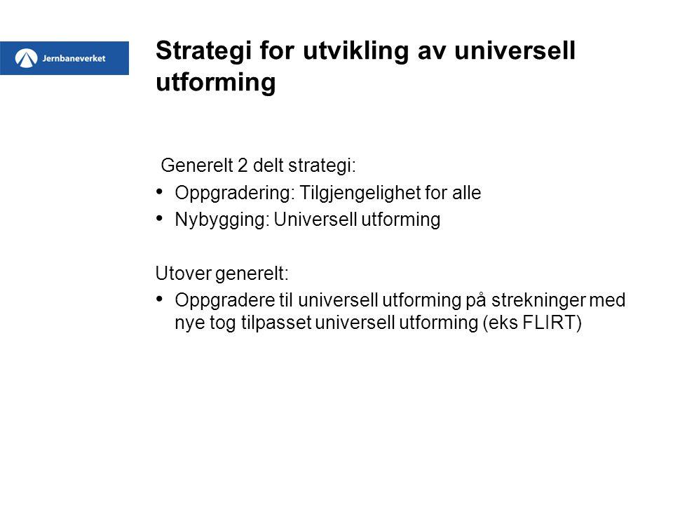 Strategi for utvikling av universell utforming Generelt 2 delt strategi: • Oppgradering: Tilgjengelighet for alle • Nybygging: Universell utforming Ut
