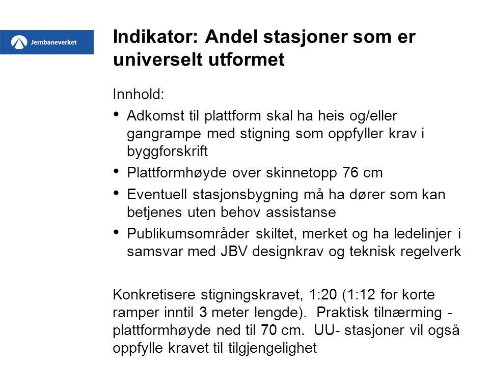 Indikator: Andel stasjoner som er universelt utformet Innhold: • Adkomst til plattform skal ha heis og/eller gangrampe med stigning som oppfyller krav