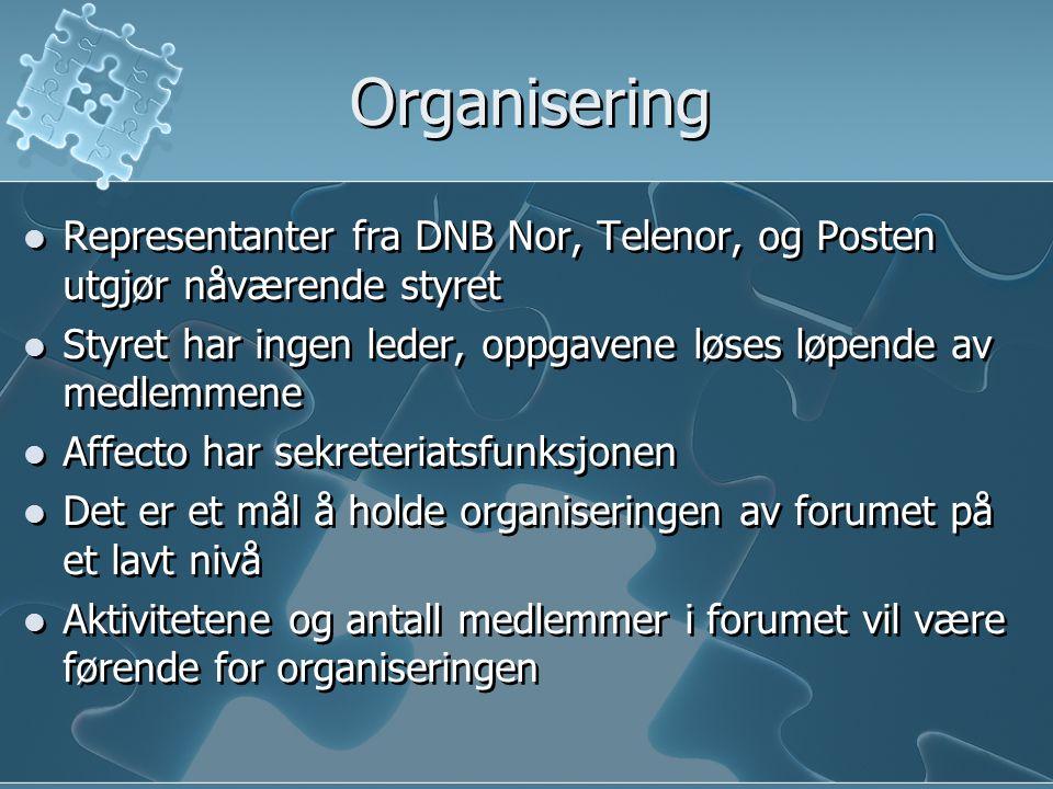 Organisering  Representanter fra DNB Nor, Telenor, og Posten utgjør nåværende styret  Styret har ingen leder, oppgavene løses løpende av medlemmene