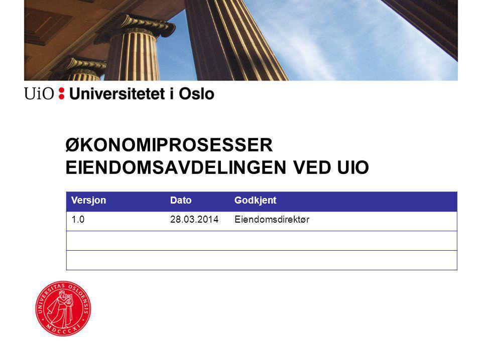 ØKONOMIPROSESSER EIENDOMSAVDELINGEN VED UIO VersjonDatoGodkjent 1.028.03.2014Eiendomsdirektør