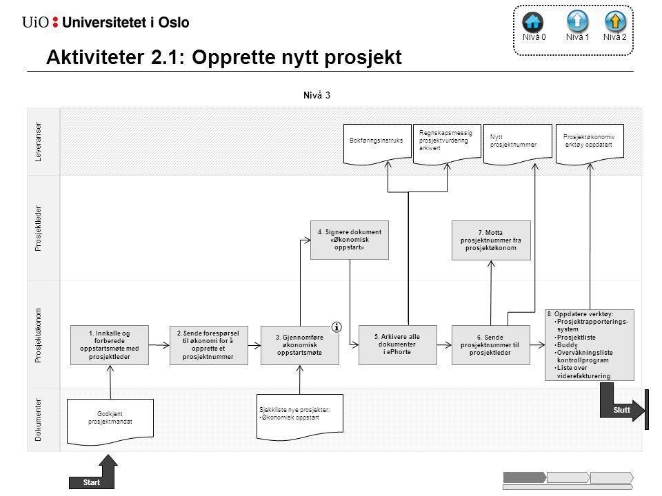 Leveranser Prosjektleder Prosjektøkonom Dokumenter Nivå 2 5.