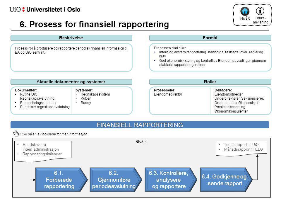 1.2 1.1 BeskrivelseFormål Prosess for å produsere og rapportere periodisk finansiell informasjon til EA og UiO sentralt. Prosessen skal sikre •Intern