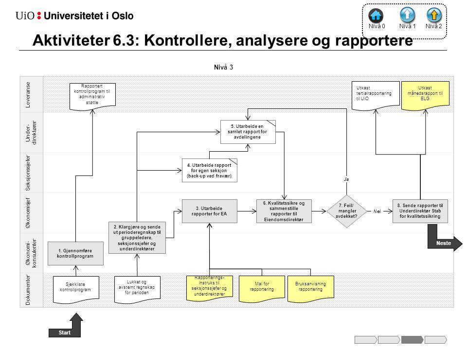 Leveranse Under- direktører Seksjonssjefer Økonomisjef Økonomi- konsulenter Dokumenter 6.