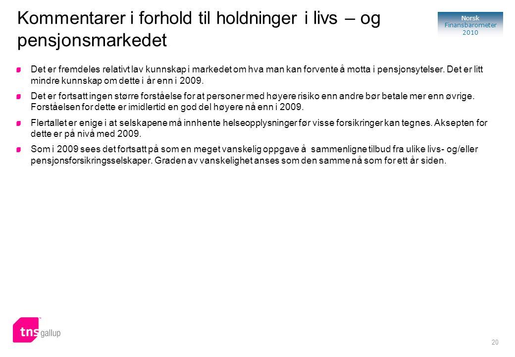 20 Norsk Finansbarometer 2010 Kommentarer i forhold til holdninger i livs – og pensjonsmarkedet Det er fremdeles relativt lav kunnskap i markedet om hva man kan forvente å motta i pensjonsytelser.