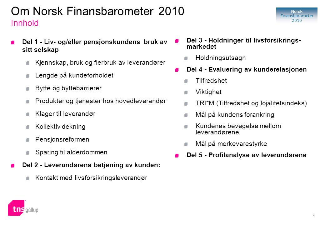 3 Norsk Finansbarometer 2010 Del 1 - Liv- og/eller pensjonskundens bruk av sitt selskap Kjennskap, bruk og flerbruk av leverandører Lengde på kundefor