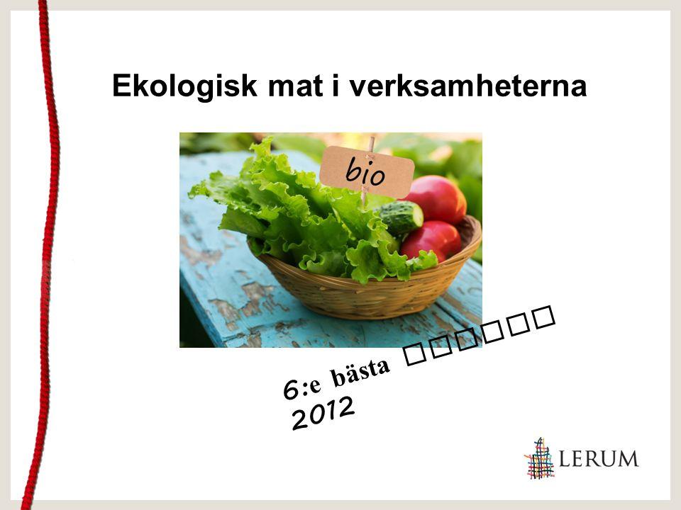Ekologisk mat i verksamheterna 6: e bästa kommun 2012