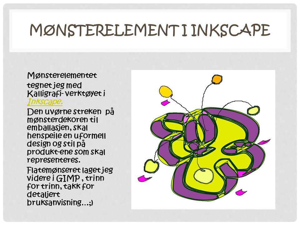 MØNSTERELEMENT I INKSCAPE Mønsterelementet tegnet jeg med Kalligrafi- verktøyet i Inkscape. Inkscape. Den uvørne streken på mønsterdekoren til emballa