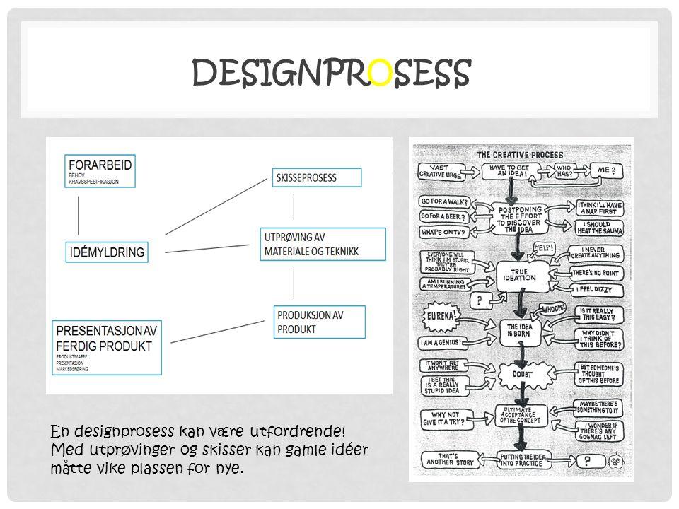 DESIGNPROSESS En designprosess kan være utfordrende! Med utprøvinger og skisser kan gamle idéer måtte vike plassen for nye.