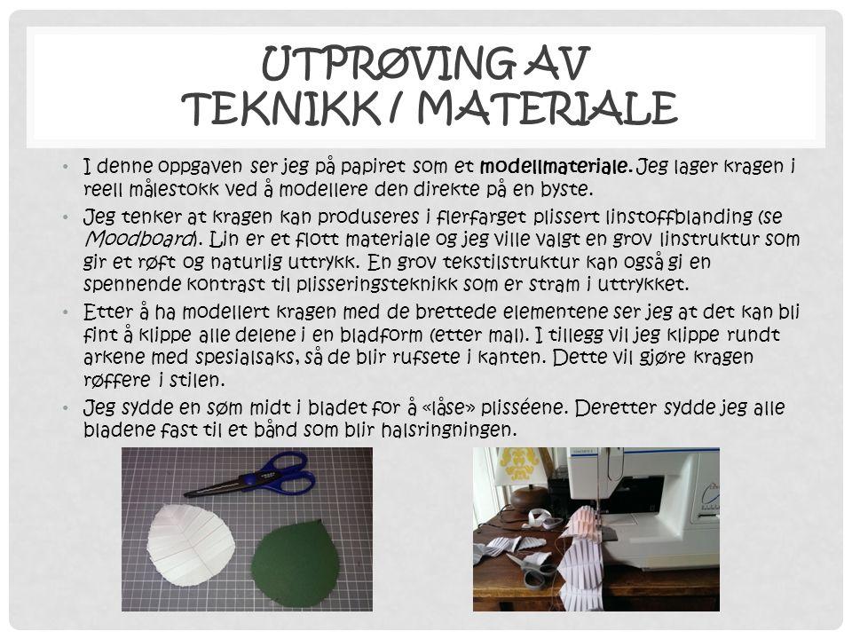 UTPRØVING AV TEKNIKK / MATERIALE • I denne oppgaven ser jeg på papiret som et modellmateriale. Jeg lager kragen i reell målestokk ved å modellere den