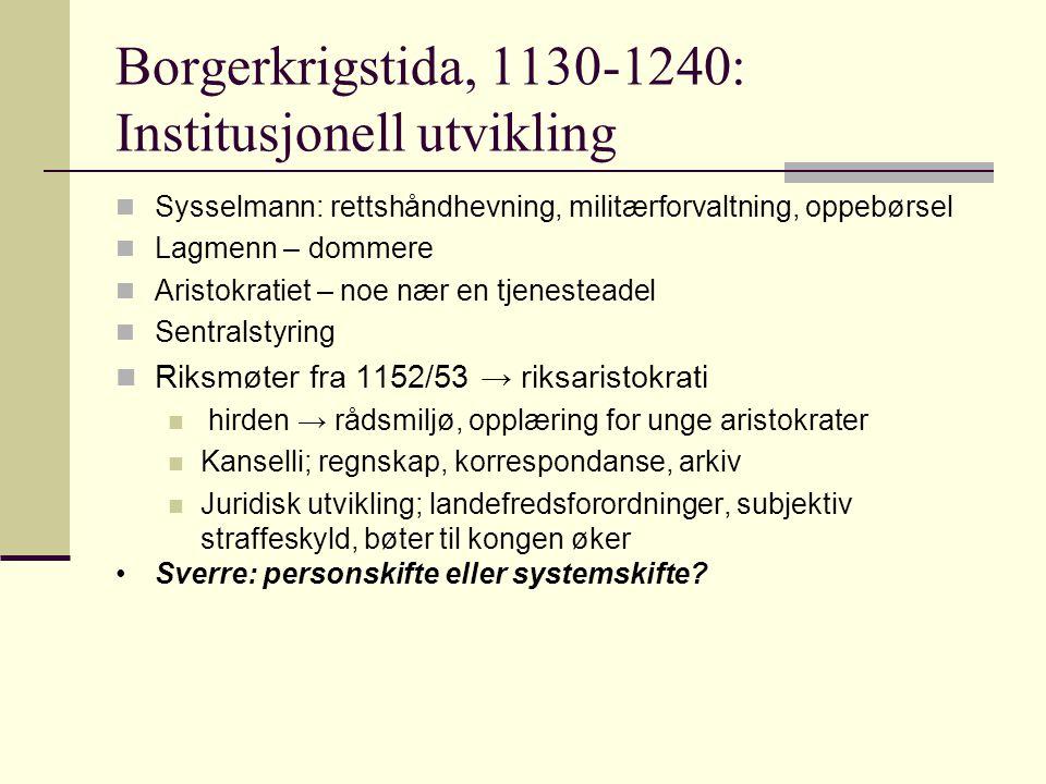 Borgerkrigstida, 1130-1240: Institusjonell utvikling  Sysselmann: rettshåndhevning, militærforvaltning, oppebørsel  Lagmenn – dommere  Aristokratie