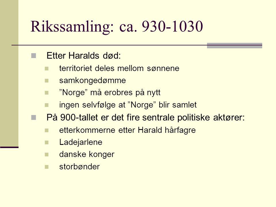 """Rikssamling: ca. 930-1030  Etter Haralds død:  territoriet deles mellom sønnene  samkongedømme  """"Norge"""" må erobres på nytt  ingen selvfølge at """"N"""