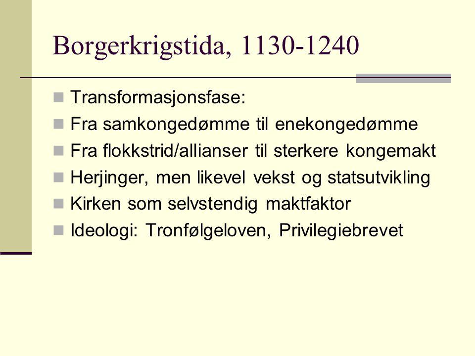 Borgerkrigstida, 1130-1240  Transformasjonsfase:  Fra samkongedømme til enekongedømme  Fra flokkstrid/allianser til sterkere kongemakt  Herjinger,