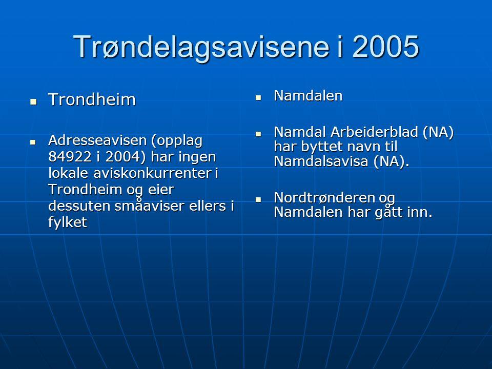Trøndelagsavisene i 2005  Trondheim  Adresseavisen (opplag 84922 i 2004) har ingen lokale aviskonkurrenter i Trondheim og eier dessuten småaviser ellers i fylket  Namdalen  Namdal Arbeiderblad (NA) har byttet navn til Namdalsavisa (NA).