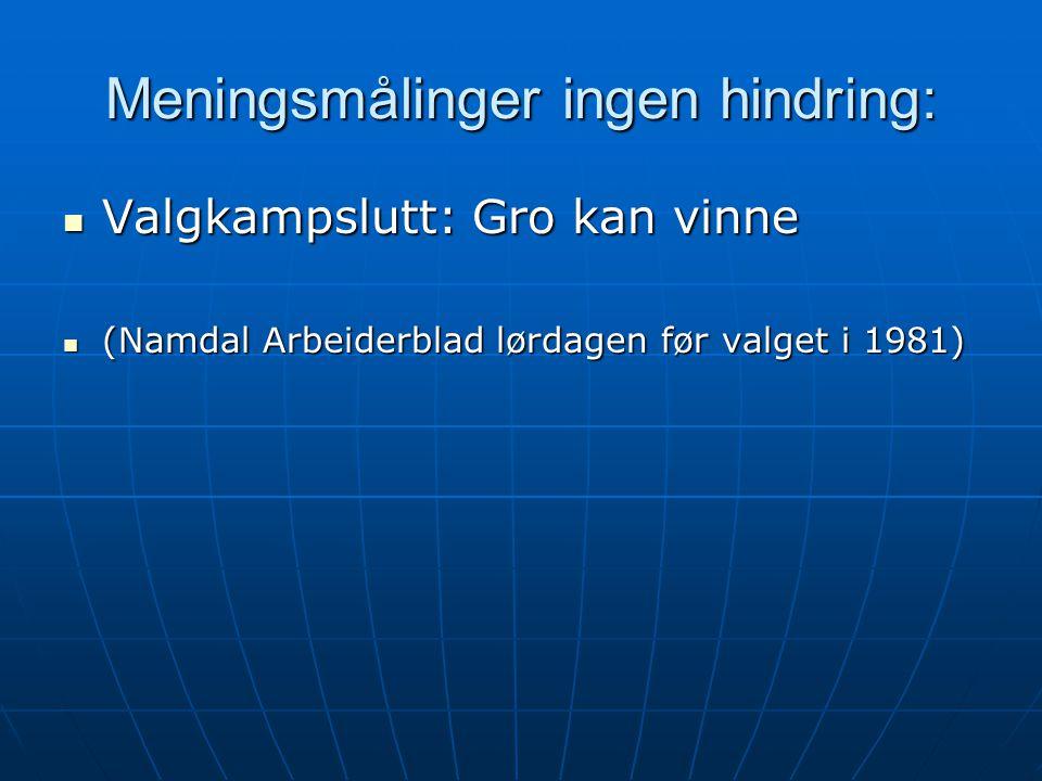Meningsmålinger ingen hindring:  Valgkampslutt: Gro kan vinne  (Namdal Arbeiderblad lørdagen før valget i 1981)