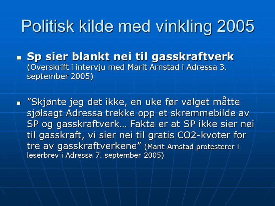 """Politisk kilde med vinkling 2005  Sp sier blankt nei til gasskraftverk (Overskrift i intervju med Marit Arnstad i Adressa 3. september 2005)  """"Skjøn"""
