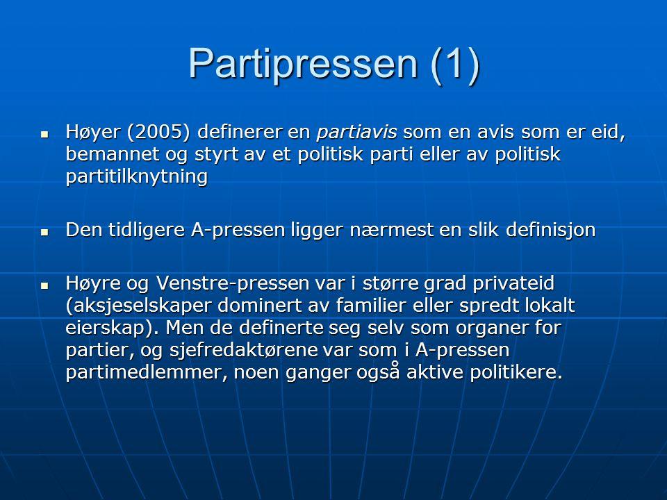 Partipressen (1)  Høyer (2005) definerer en partiavis som en avis som er eid, bemannet og styrt av et politisk parti eller av politisk partitilknytni