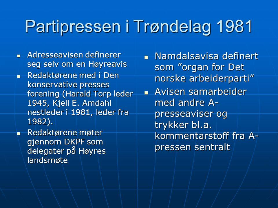 Partipressen i Trøndelag 1981  Adresseavisen definerer seg selv om en Høyreavis  Redaktørene med i Den konservative presses forening (Harald Torp le
