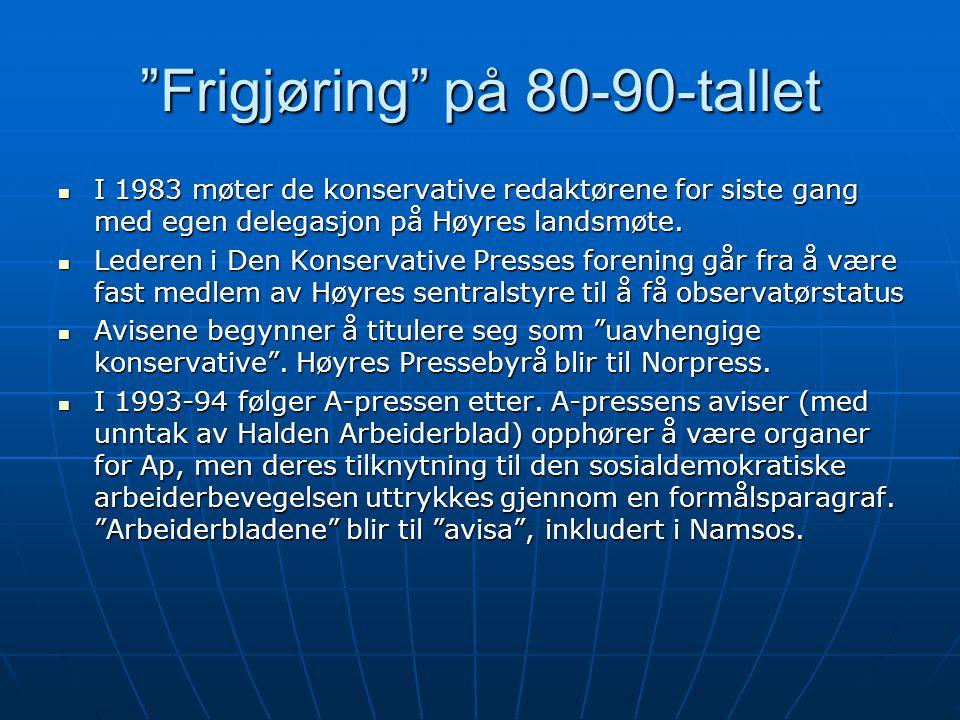 """""""Frigjøring"""" på 80-90-tallet  I 1983 møter de konservative redaktørene for siste gang med egen delegasjon på Høyres landsmøte.  Lederen i Den Konser"""