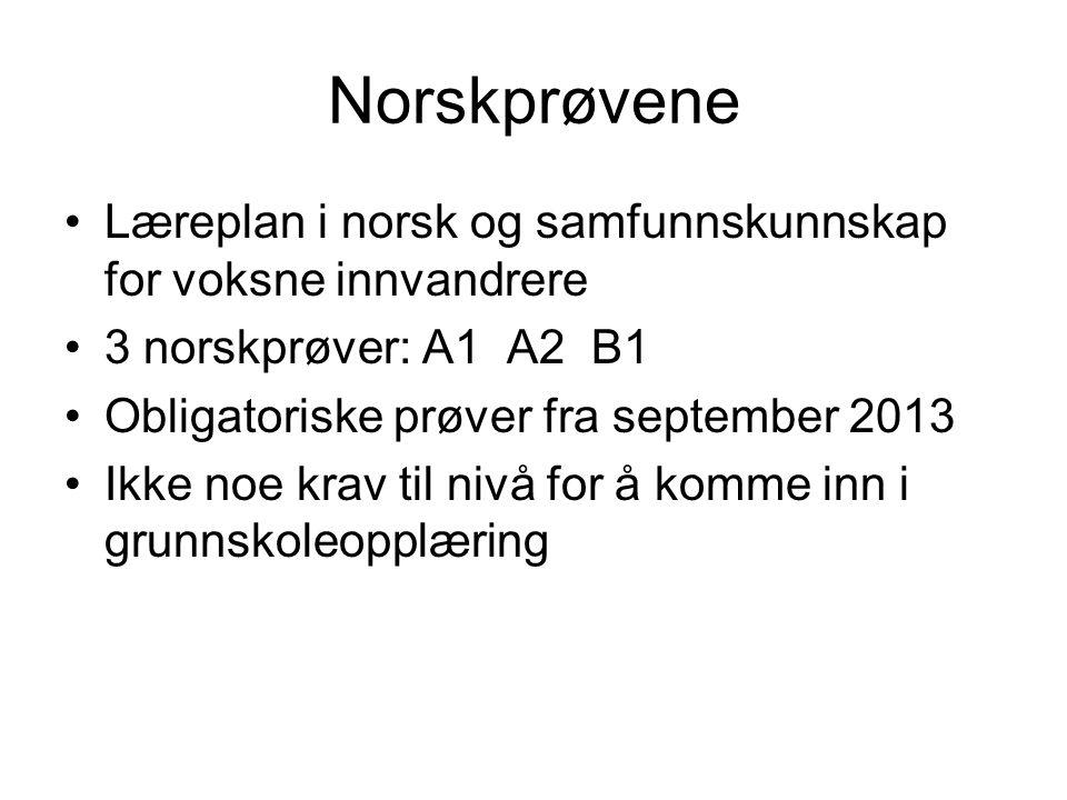 Norskprøvene •Læreplan i norsk og samfunnskunnskap for voksne innvandrere •3 norskprøver: A1 A2 B1 •Obligatoriske prøver fra september 2013 •Ikke noe krav til nivå for å komme inn i grunnskoleopplæring