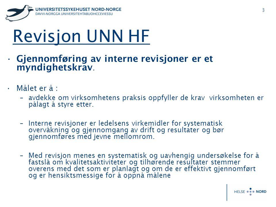 3 Revisjon UNN HF •Gjennomføring av interne revisjoner er et myndighetskrav. •Målet er å : –avdekke om virksomhetens praksis oppfyller de krav virksom