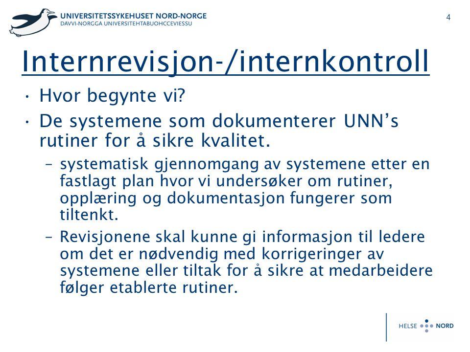 4 Internrevisjon-/internkontroll •Hvor begynte vi? •De systemene som dokumenterer UNN's rutiner for å sikre kvalitet. –systematisk gjennomgang av syst