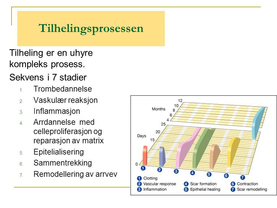 Tilhelingsprosessen Tilheling er en uhyre kompleks prosess. Sekvens i 7 stadier 1. Trombedannelse 2. Vaskulær reaksjon 3. Inflammasjon 4. Arrdannelse