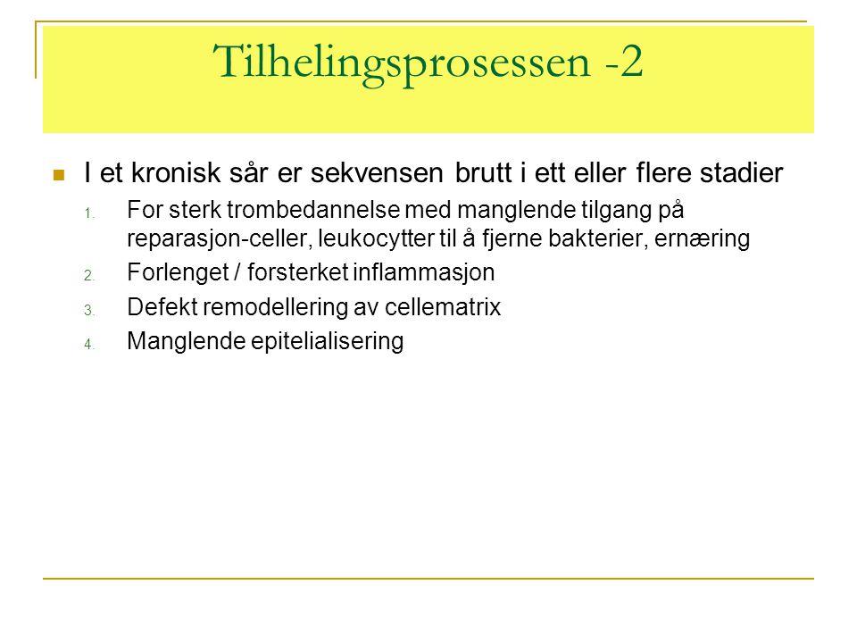 Tilhelingsprosessen -2  I et kronisk sår er sekvensen brutt i ett eller flere stadier 1. For sterk trombedannelse med manglende tilgang på reparasjon
