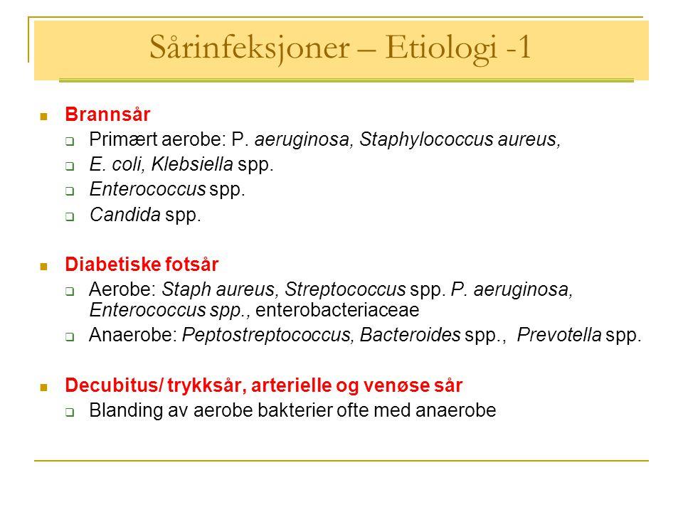 Sårinfeksjoner – Etiologi -1  Brannsår  Primært aerobe: P.