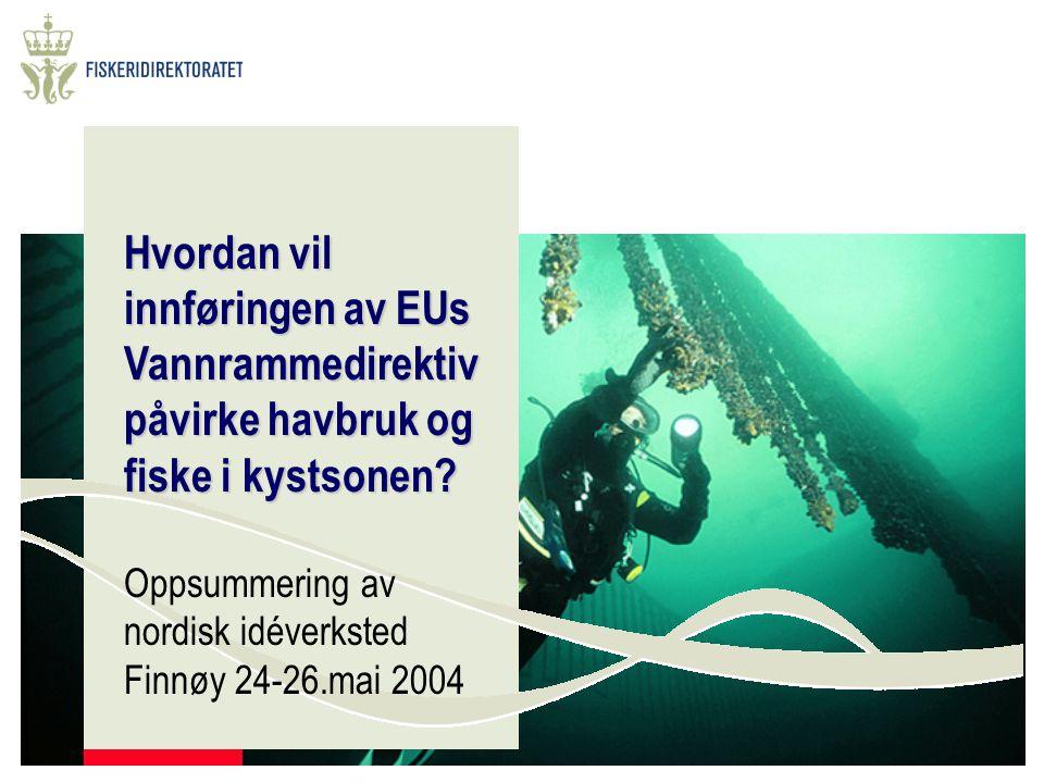 Hvordan vil innføringen av EUs Vannrammedirektiv påvirke havbruk og fiske i kystsonen? Oppsummering av nordisk idéverksted Finnøy 24-26.mai 2004