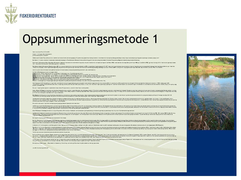Oppsummeringsmetode 1 Nordisk Idéverksted Finnøy 24.-26. mai 2004 Hvordan vil innføringen av EUs Vannrammedirektiv påvirke havbruk og fiske i kystsone