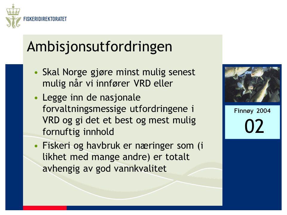 Finnøy 2004 02 Ambisjonsutfordringen •Skal Norge gjøre minst mulig senest mulig når vi innfører VRD eller •Legge inn de nasjonale forvaltningsmessige