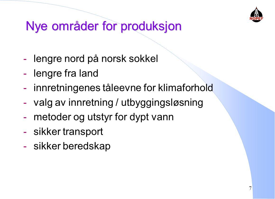 7 Nye områder for produksjon - lengre nord på norsk sokkel - lengre fra land - innretningenes tåleevne for klimaforhold - valg av innretning / utbyggingsløsning - metoder og utstyr for dypt vann - sikker transport - sikker beredskap