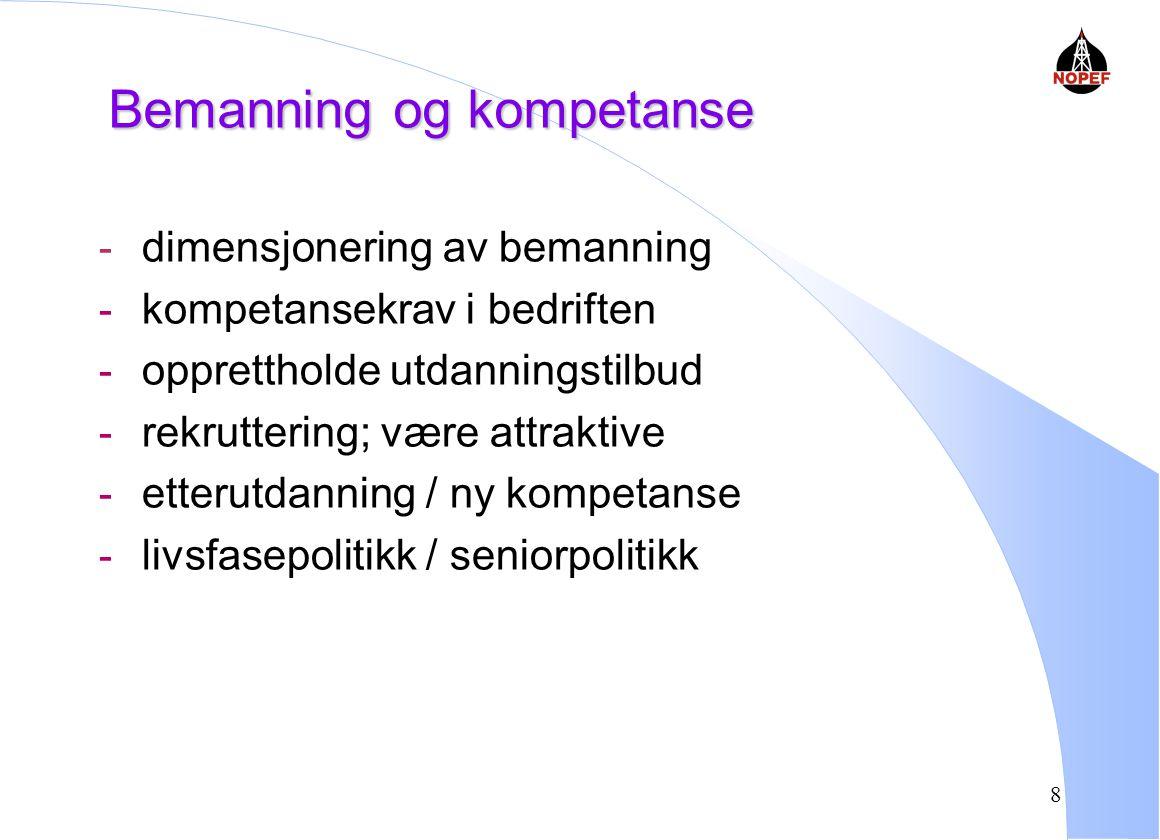 8 Bemanning og kompetanse - dimensjonering av bemanning - kompetansekrav i bedriften - opprettholde utdanningstilbud - rekruttering; være attraktive - etterutdanning / ny kompetanse - livsfasepolitikk / seniorpolitikk