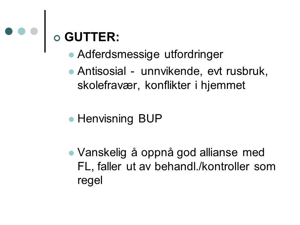 GUTTER:  Adferdsmessige utfordringer  Antisosial - unnvikende, evt rusbruk, skolefravær, konflikter i hjemmet  Henvisning BUP  Vanskelig å oppnå g