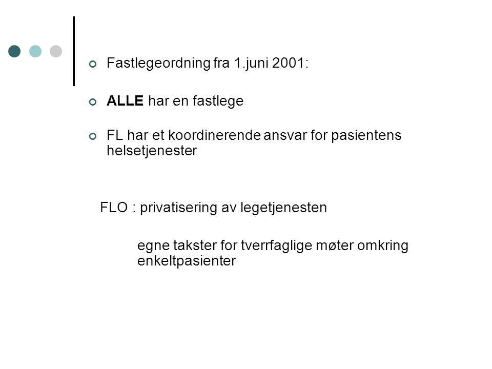 Fastlegeordning fra 1.juni 2001: ALLE har en fastlege FL har et koordinerende ansvar for pasientens helsetjenester FLO : privatisering av legetjenesten egne takster for tverrfaglige møter omkring enkeltpasienter