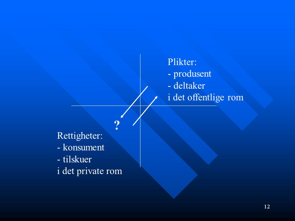 12 Rettigheter: - konsument - tilskuer i det private rom Plikter: - produsent - deltaker i det offentlige rom ?