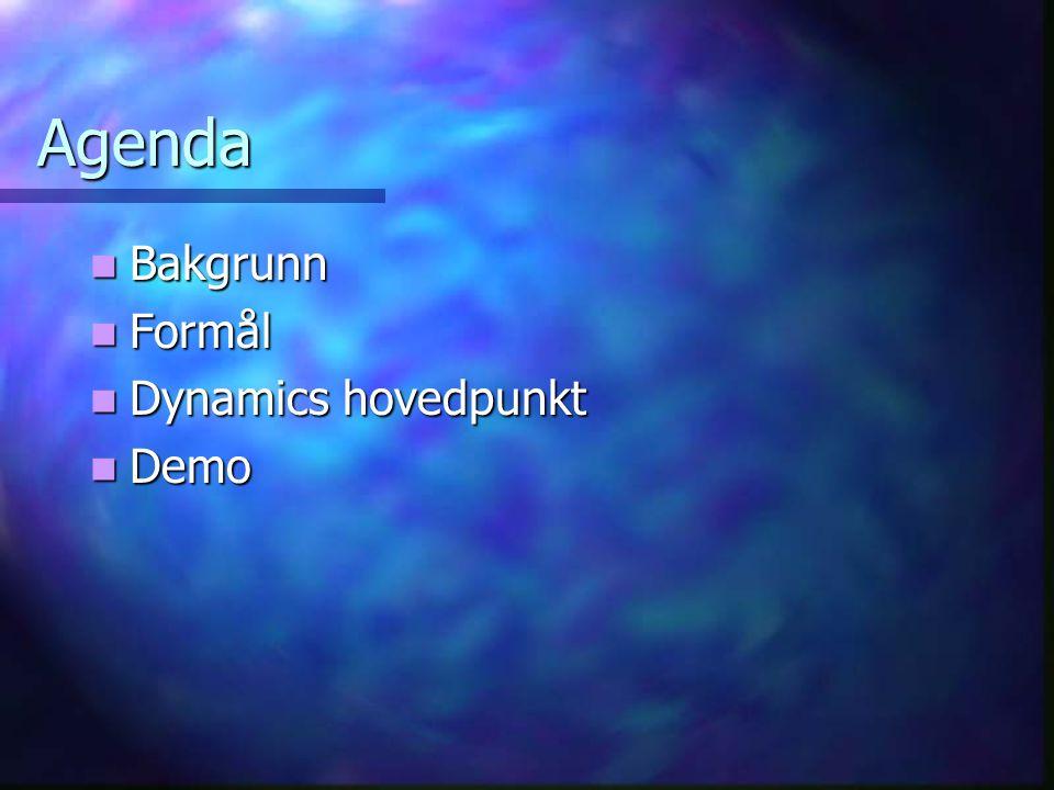 Agenda  Bakgrunn  Formål  Dynamics hovedpunkt  Demo