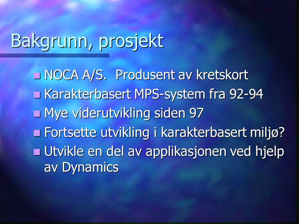 Bakgrunn, prosjekt  NOCA A/S.