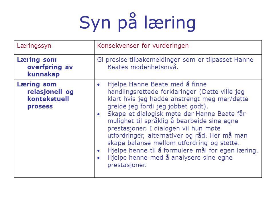 Syn på læring LæringssynKonsekvenser for vurderingen Læring som overføring av kunnskap Gi presise tilbakemeldinger som er tilpasset Hanne Beates moden